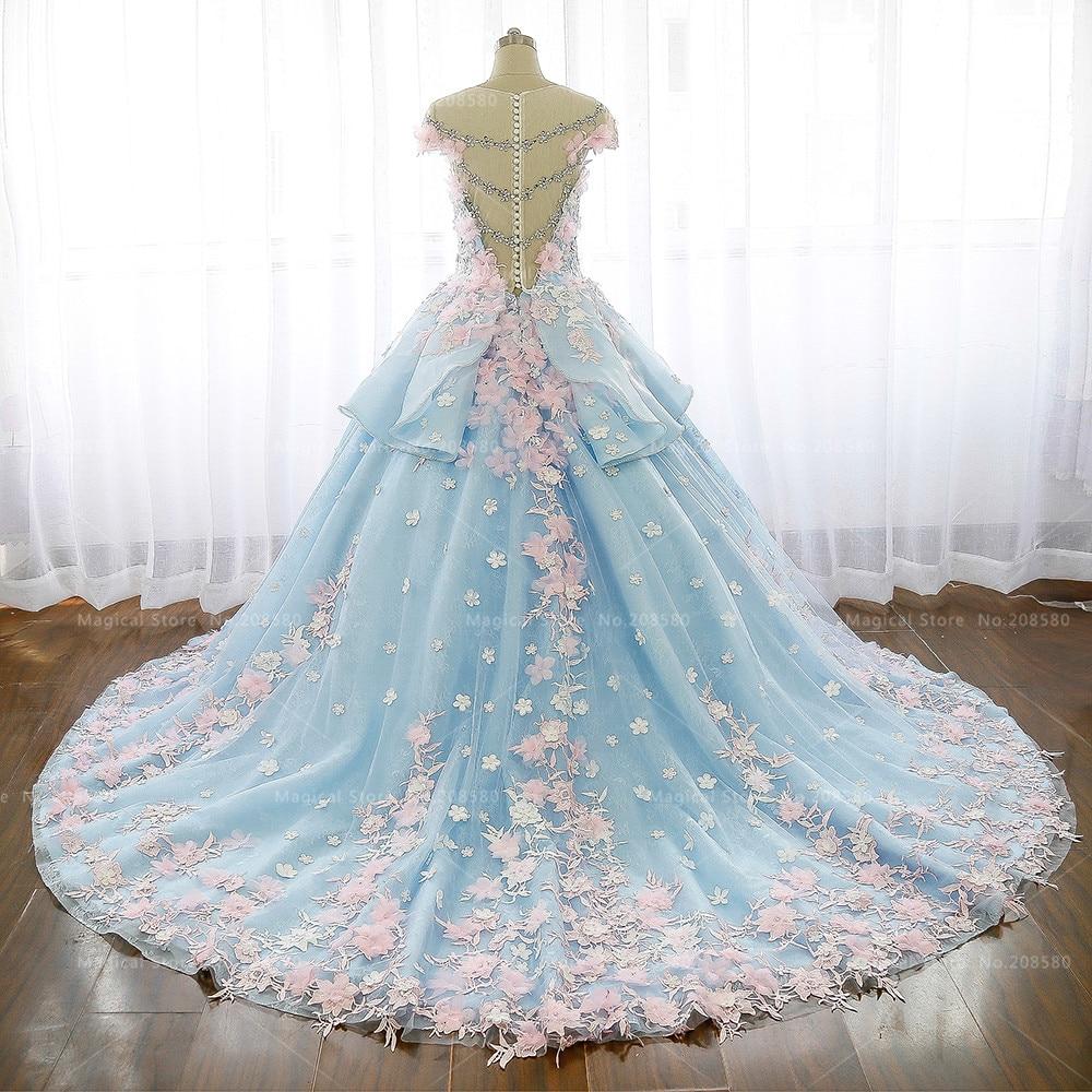 Vestido De Boda Árabe de lujo Azul de Encaje de Flores de Color Rosa ...