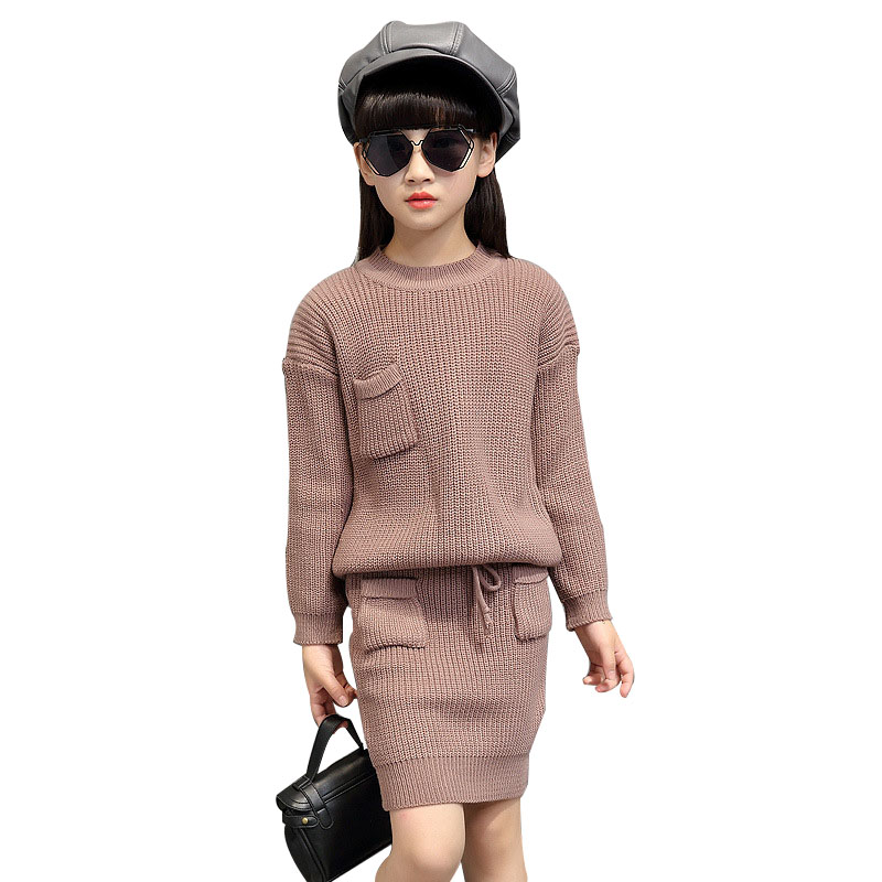 Girls Solid Sweaters & Skirts 2Pcs For Pocket Knitted Kids Clothes Sets Autumn Winter Children Clothing Sets 2 4 6 8 10 12 Years school girls brand cardigan clothes sets knitted sweater wave skirt 2pcs winter autumn warm children clothing kids outfits w75