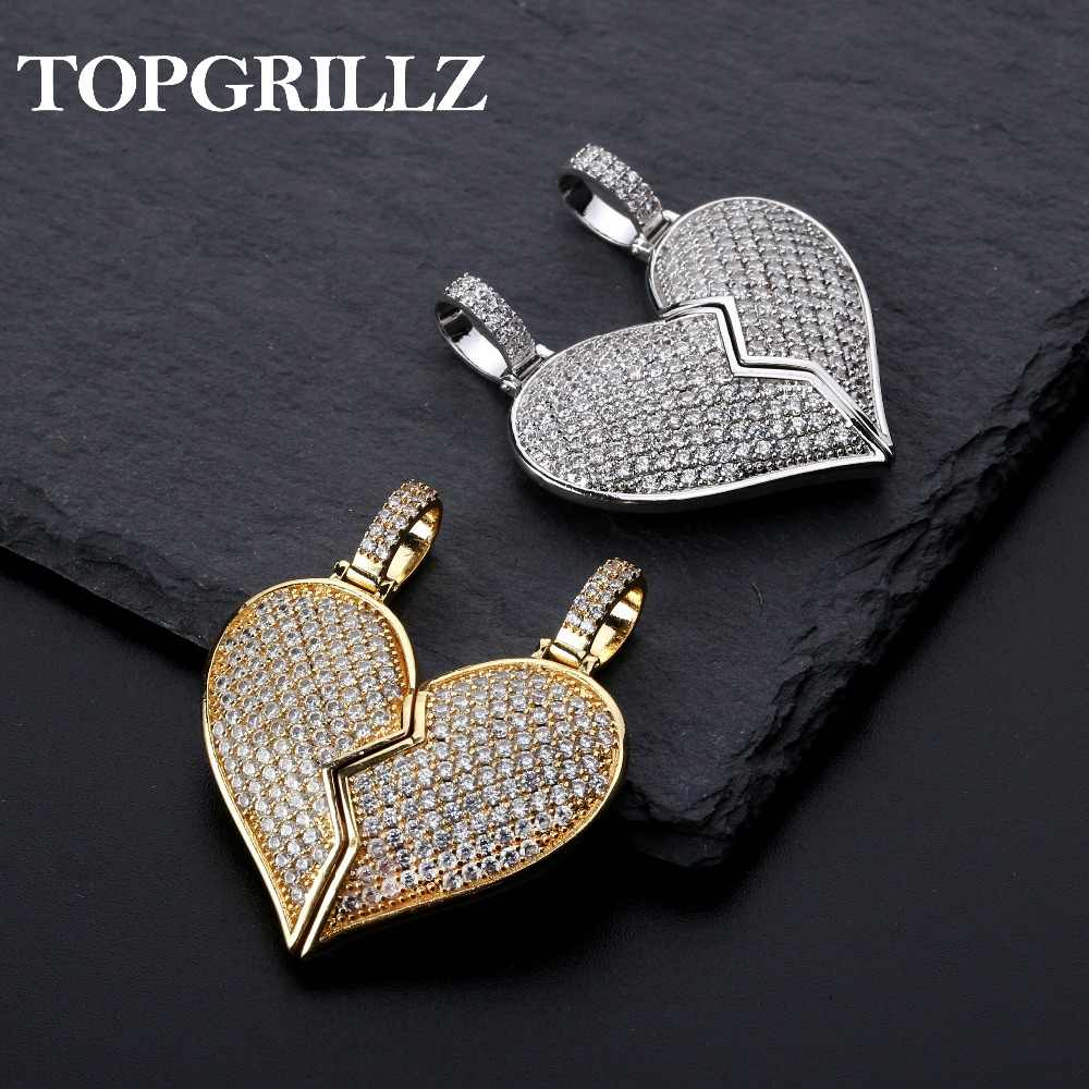 f2d9ef8bd7399 Solid Back Heart Broken With Magnet Iced Out Pendant Necklace Mens ...