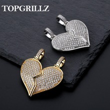 Solid Back Heart Broken With Magnet Iced Out Pendant Necklace Mens/Women CZ Chains Hip Hop Gold Silver Color Charms Jewelry Gift