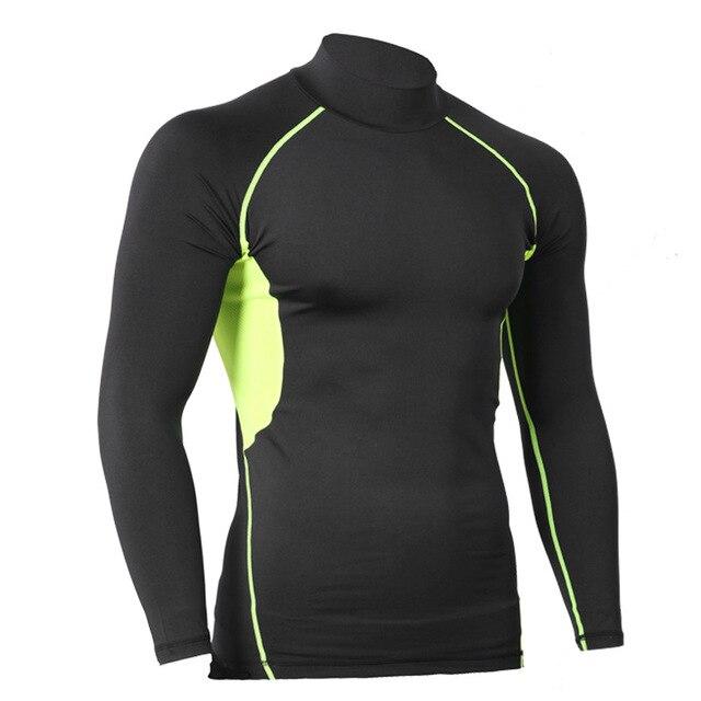 f2c2358ced Compressão dos homens De manga Comprida Respirável de Secagem rápida Camisas  de Lycra de Fitness Crossfit