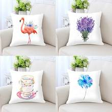 2018 New Flamingo Cushion Garden Flower Lavender Dandelion Rose Plant Kettle Cup Cute Elephant Pillow For Kids Bedroom Decor(China)
