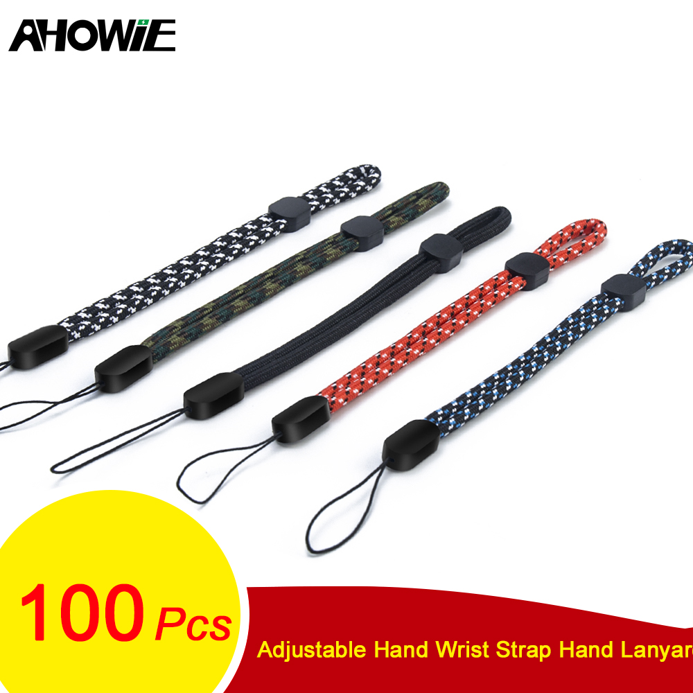 Ahowie 100PCS Adjustable Hand Wrist Strap Hand Lanyard For IPhone CellPhone Camera GoPro Keys USB Flash Driver Electronic Device