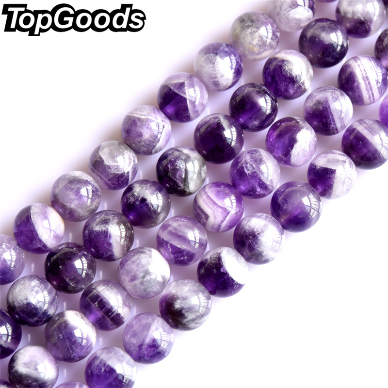 TopGoods Natural Amethyst Stone Beads Round Loose Purple Crystal 4/6/8/10mm Gemstone Material  for Women Jewelry Making