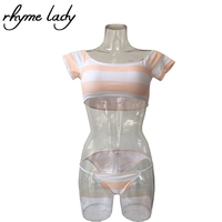 Rhyme Lady Swimsuit 2017 Women Bikini Set Sexy Geometirc Swimwear Striped Swimsuit Pad Low Waist Maillot