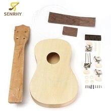 Senrhy 21 Inch Unassembled Wooden Ukulele Rosewood Fretboard Guitar Uke DIY Kit With Musical Accessories For Beginners Hot Sale