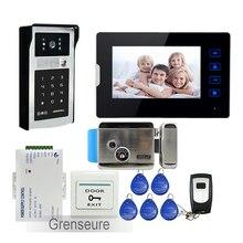 FREE SHIPPING 7″ Touch Key Screen Video Door Phone Intercom Kit + 1 Monitor + Outdoor RFID Code Keypad Doorbell Camera + E-LOCK