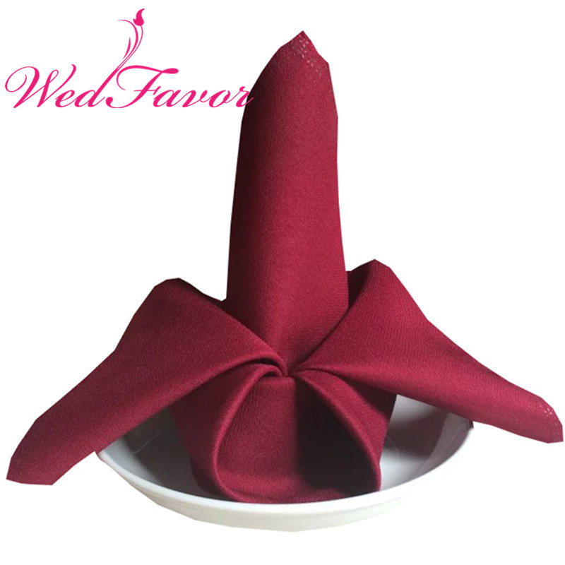 100pcs 45 x 45cm Burgundy Plain Polyester Table Napkins Linen Napkins Dinner Cloth Napkins For Hotel