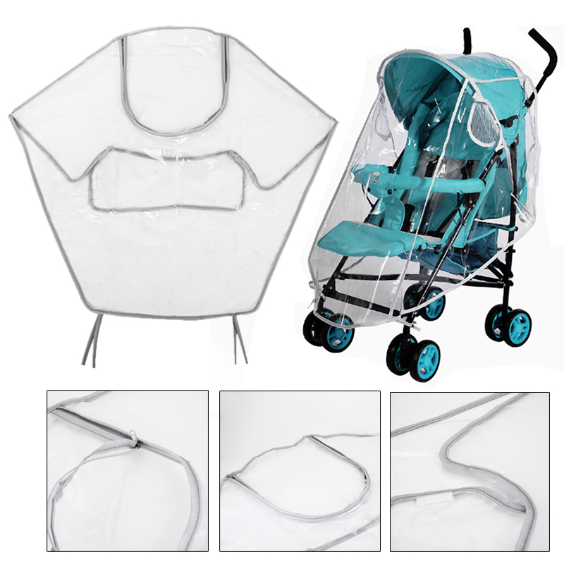 Baby Stroller Rain Cover Buggy Accessories Universal Waterproof Windscreen Wind Dust Shield Zipper Open For Baby Foldable