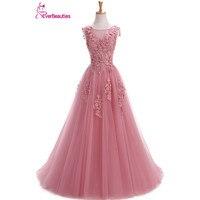 Robe De Soiree Evening Dresses Long Plus Size Tulle Prom Lace Up Beaded Gown Vestido De