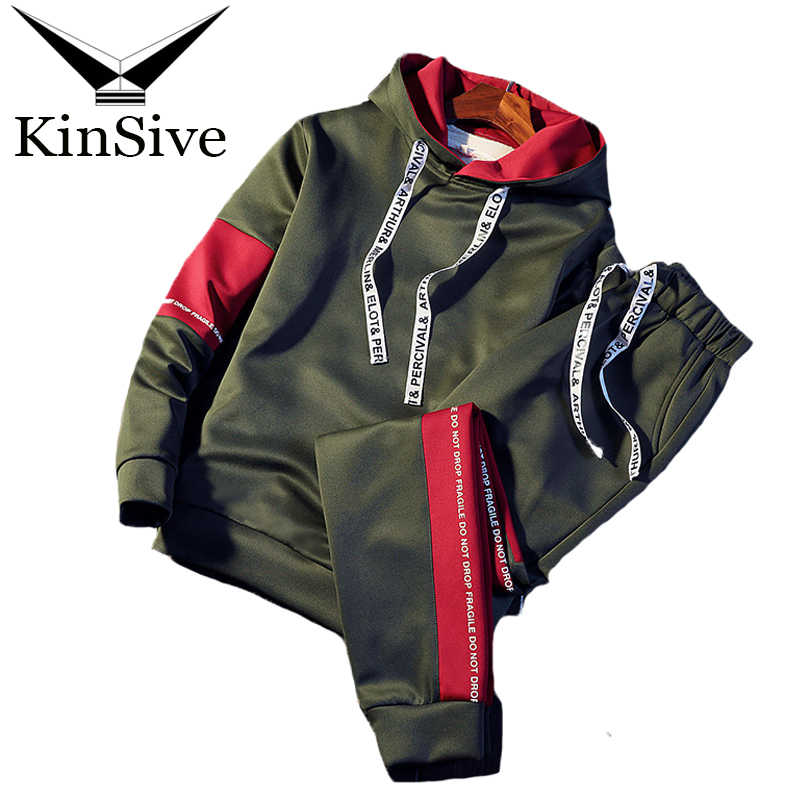 eb16aaca5c4 Brand Tracksuit Men Quality Spring Men Sporting Hooded Hoodie + Pants Two  Piece Sweat Set Jogger