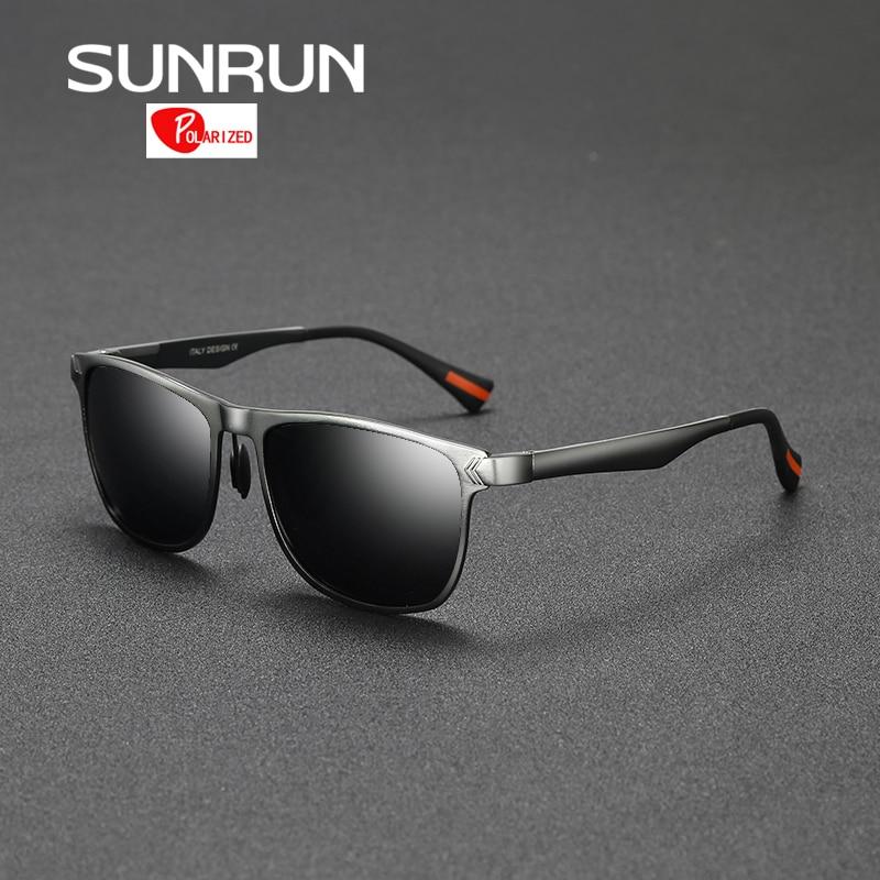 SUNRUN Sunglasses Men Polarized Aluminum Frame Sun Glasses Mirror Eyewear Accessories oculos de sol feminino 8586