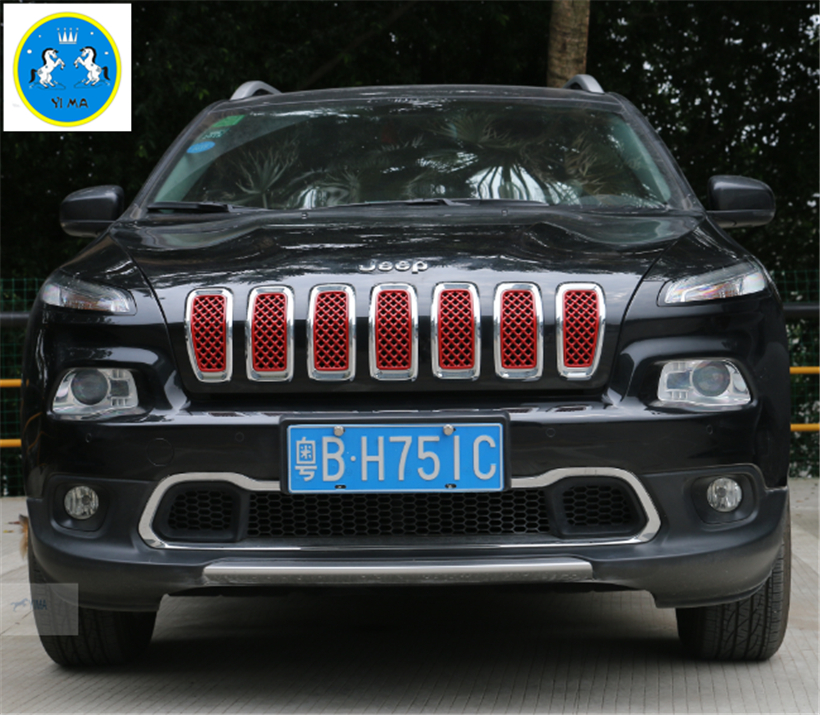 Accessories For Jeep Cherokee 2017 2016 Abs Front Grille Grill Cover Trim 7 Pcs Set