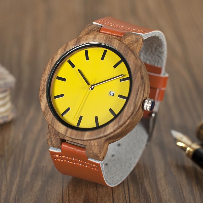 Hot Brand BOBO BIRD Wooden Watches Men Yellow Auto Date Dial Leather Strap Wristwatch relogio masculino B-O09