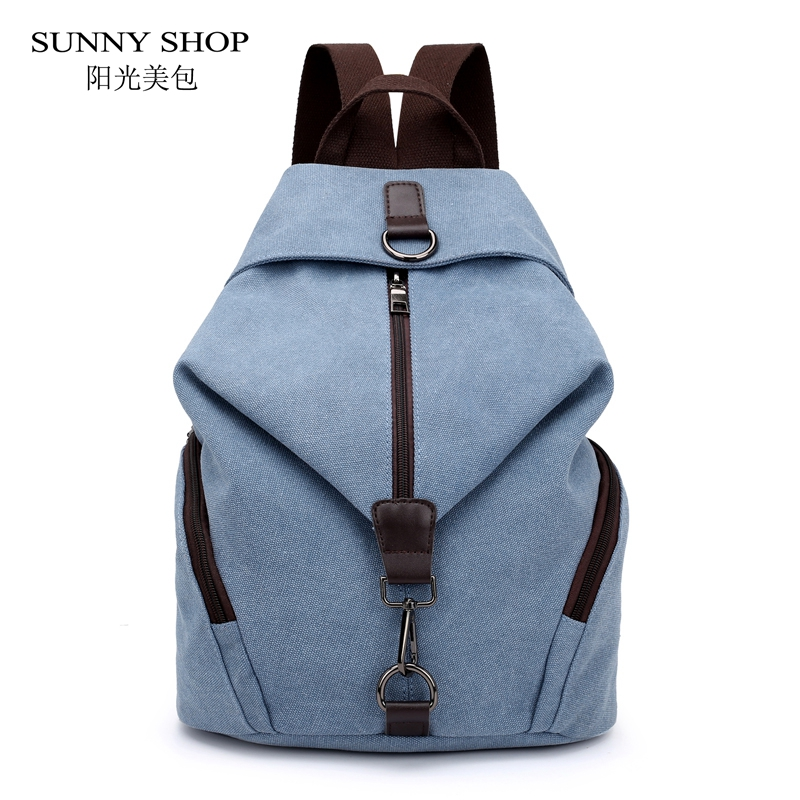 SUNNY SHOP Vintage Women Canvas Backpack Brand High Quality Casual School Backpack For Girls Large Capacity Tavel Rucksack Grey