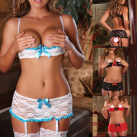 2015 Fashion Womens Sexy Products Lace Open Cup Shelf Bra Garter Belt G String Sexy Lingeries