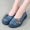 Первый слой из воловьей кожи весна осень женщины плоские туфли Ручной Работы ретро мать обувь плоские кожаные ботинки мода повседневная обувь