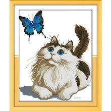 Набор для вышивки крестом joy sunday вышивка котом и бабочкой