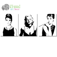 Marilyn Monroe Poster Wall Decal Canvas Prints Forever Audrey Hepburn And Marilyn Monroe Paintings Art 16
