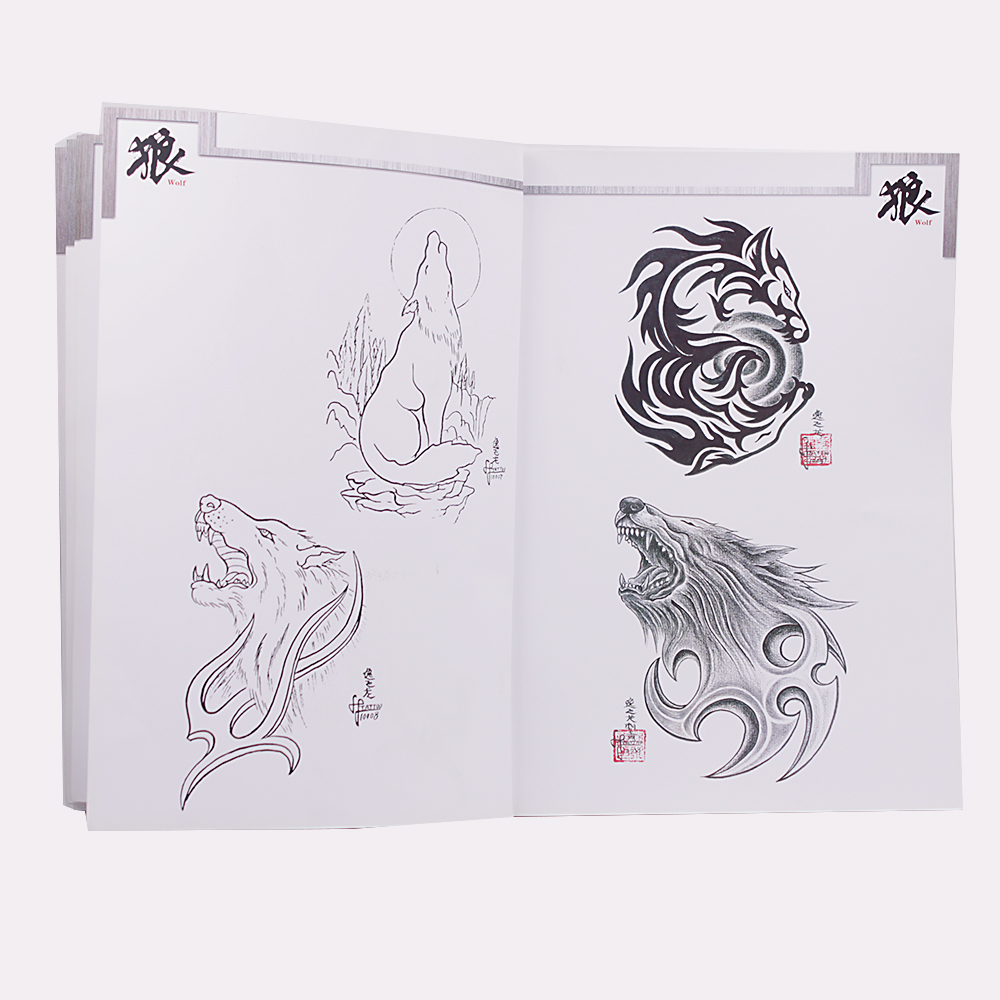 Creative Animal Pattern Tattoo Book Multi Wolf Totem Designs Tattoo Manuscript Reference Book for Tattoo Works Design