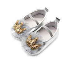 Newborn Sequin Crown Princess Shoes for 0-18 Months First Walkers Baby