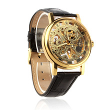 Paradise 2017 1PC Mens Luxury Mechanical Skeleton Watch Hand Wind Up Synthetic Leather Strap Wristwatch wholesale Apr12