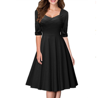 Latest Half Sleeves Solid Black A Line Fashion Lady Office Party Dress Vintage Clothes Sexy Skater