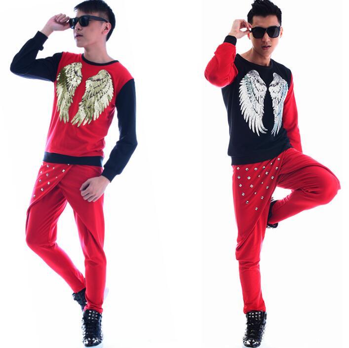 Fashion punk slim sexy red shirt men long sleeve shirt teenage korean shirt mens personality stage singer dance shirt + pant - 4