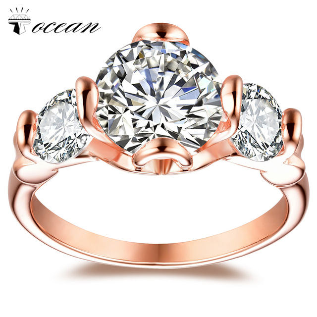 Tocean Rose Gold Color Cute Romantic Wedding Rings for Women Round AAA Zircon Engagement Fashion Bijoux Bague Size 5-12 W046