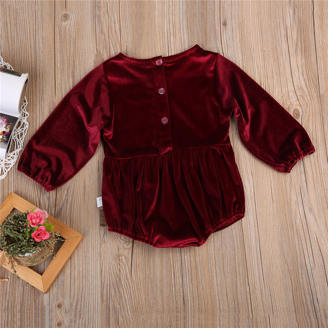 Newborn Baby Bodysuit Red velvet Long Sleeve Place Unisex Baby Bodysuits  Cotton Boys Girls 0-3 Y 8c59d3e1bad9