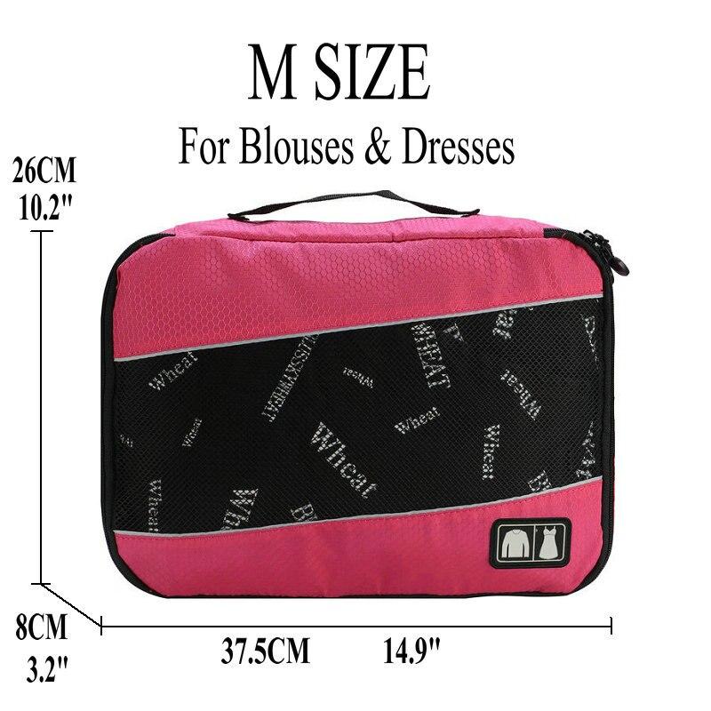 Soperwillton упаковочные кубики, нейлоновая дорожная сумка-Органайзер, Воздухопроницаемая сетчатая дорожная сумка для мужчин и женщин, органайзер для путешествий - Цвет: Rose M