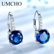 UMCHO 100% Real Silver 925 Jewelry Round Created Nano Sapphire Clip Earrings For Women Party Fashion Gift Charms Fine
