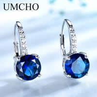 UMCHO 100% Real Silver 925 Jewelry Round Created Nano Sapphire Clip Earrings For Women Party Fashion Gift Charms Fine Jewelry
