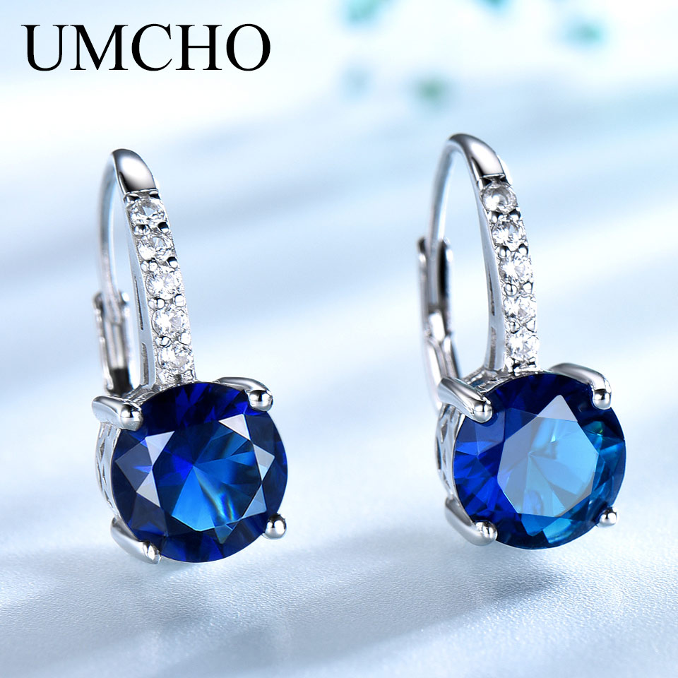 UMCHO 100% joyería de plata 925 ronda creado Nano zafiro pendientes de Clip pendientes largos aretes pendientes para las mujeres de regalo de moda encantos de la joyería fina