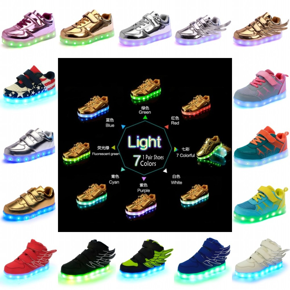 2016 کودکان و نوجوانان پسرانه مد دخترانه کفش LED کفش درخشان شب تابستانی گاه به گاه کفش با شارژر USB 18 رنگ 7 سبک