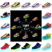 2016 Mode Enfants Garçons Filles LED Chaussures Lumineux Chaussures Nuit Lumière Espadrilles Occasionnelles Avec USB Chargeur 18 Couleurs 7 Styles