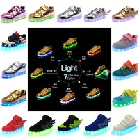 2016 Fashion Kids Boys Girls LED Shoes Luminous Shoes Night Light Casual Sneakers With USB Charger 18 Colors 7 Styles