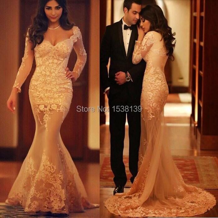 Sheer Long Sleeve Mermaid Dresses Evening abendkleider 2015 V-Neck Tulle Formal Gowns Prom Vestido De Festa Longo - Your Own Store store