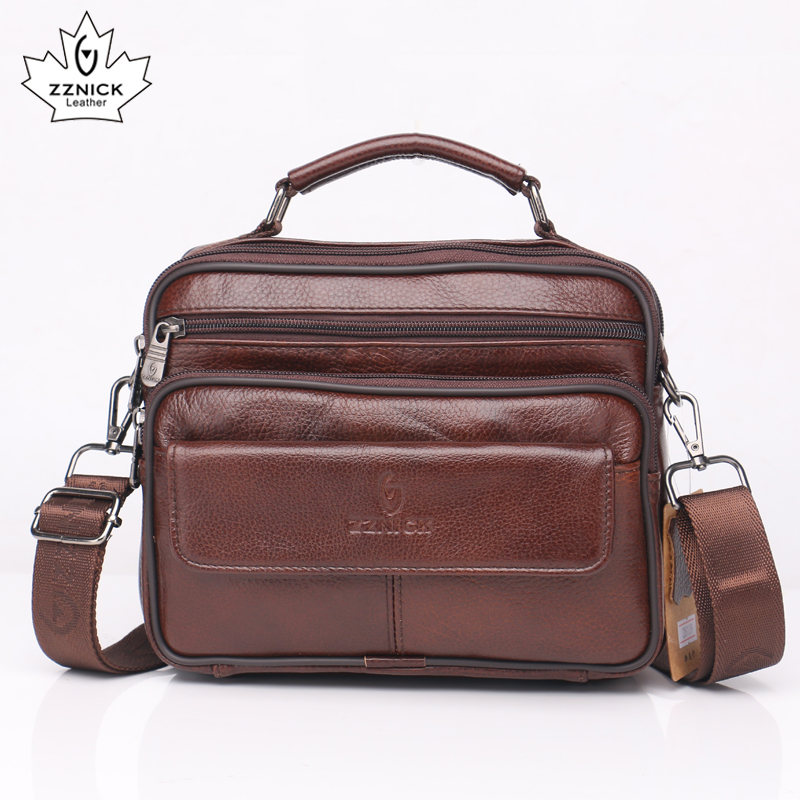 e13d357694a Cow Genuine Leather Messenger Bags Men Travel Business Crossbody Shoulder  Bag for Man Fashion Satchels Flap Flap Pocket ZZNICK