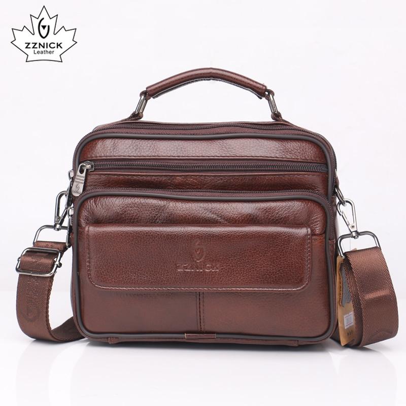 Cow Genuine Leather Messenger Bags Men Travel Business Crossbody Shoulder Bag For Man Fashion Satchels Flap Flap Pocket ZZNICK