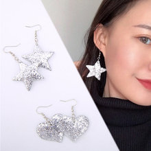 купить Sale 1Pair 2018 New Silver color Shining Star Heart Shaped Dandgle Earring For Women Girls дешево
