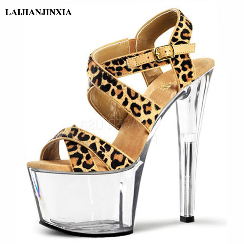 Methodical Laijianjinxia New Women Leopard 17cm High Heels Sandals Summer Night Club Party Dance Shoes Platforms Sexy Pole Dancing Shoes Office & School Supplies