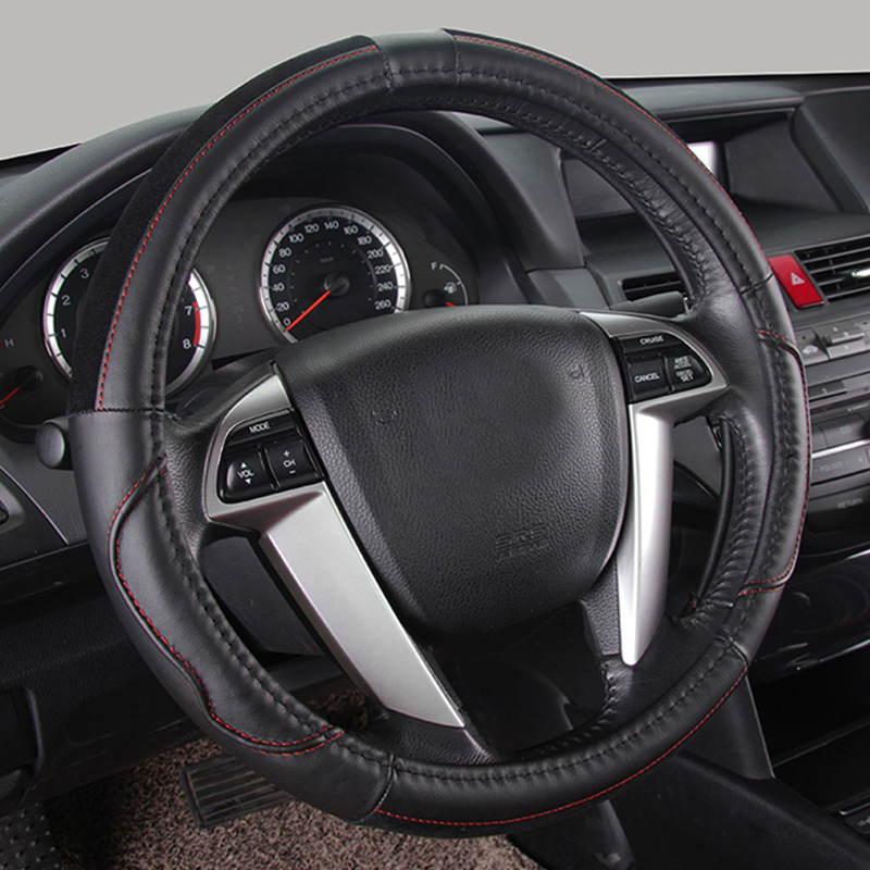 ФОТО Genuine leather steering wheel cover fashionable car steering wheel covers for girls black steering wheels & steering wheel Hubs