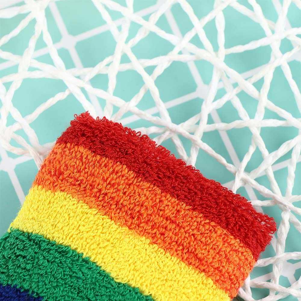 Дышащий теплый браслет радужного цвета мягкий хлопок обертывание рук бадминтон, Бег Фитнес Мужчины Женщины браслет