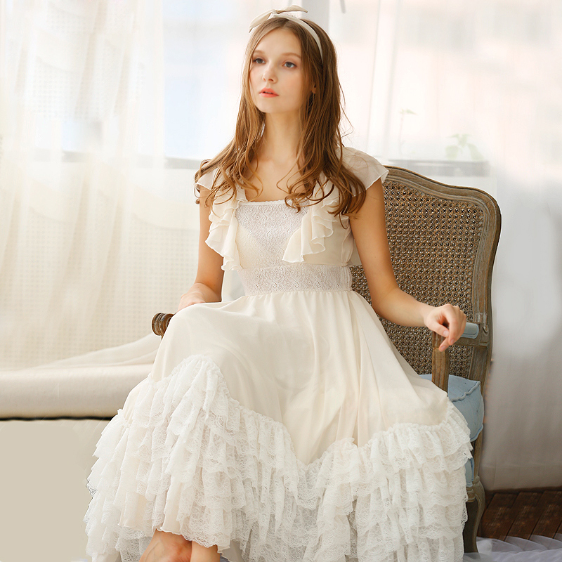 Summer New Arrival Elegant Luxury Night Gowns Vintage Royal Princess  Chiffon Full Dress Vintage Royal Nightgown Women S Nighty-in Nightgowns    Sleepshirts ... 06ea60eb3