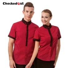 Top quality Work wear waiter clothes waitress uniform checkout waiter shirt spri