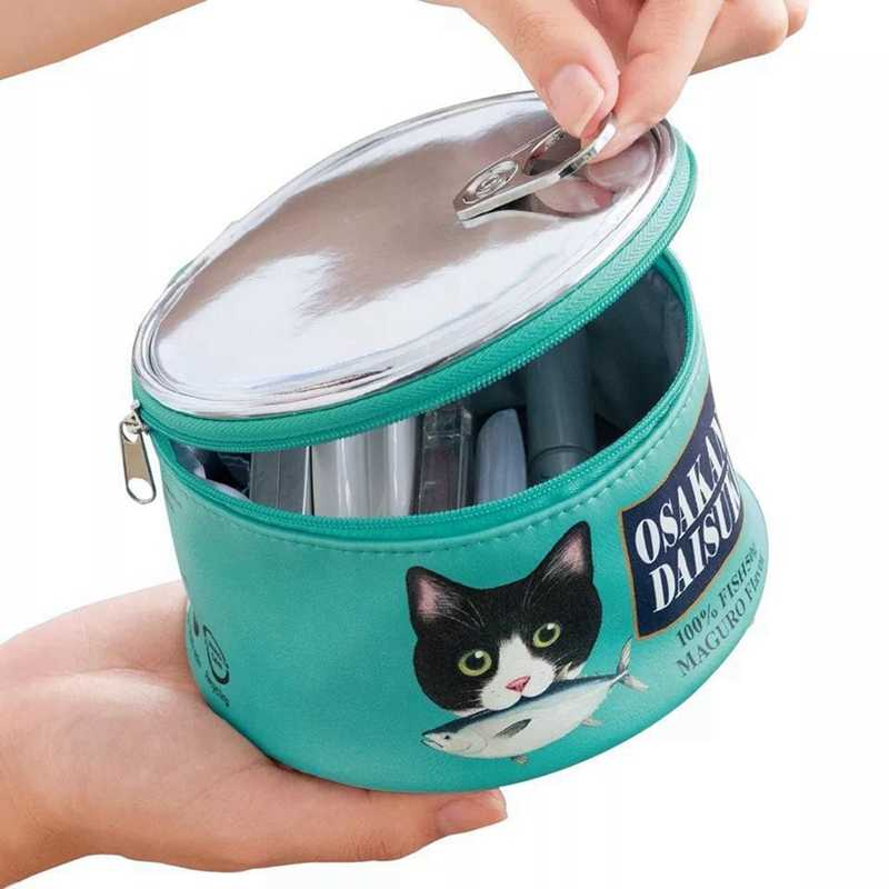 Large-capacity Storage Bag Creative Cat Eating Fish Pattern Canned Type Cosmetic Bag Storage Bag Can Keep All Cosmetics