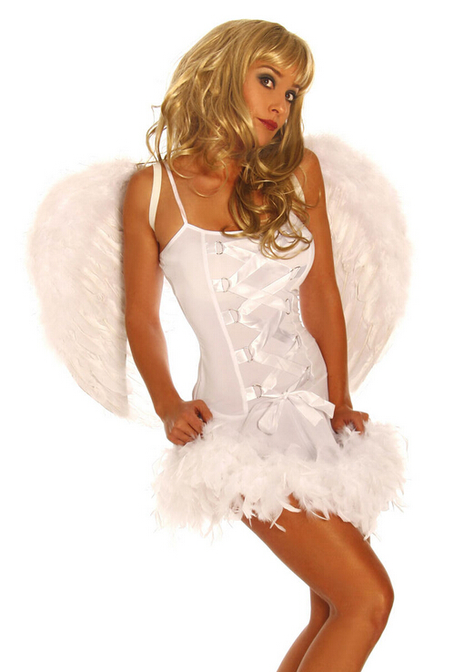 Dark angel Sexy Halloween black night club dress for girl adult game Christmas cosplay with genuine feather for women sex toy