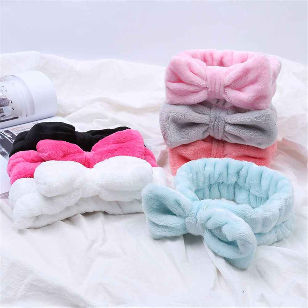 Coral Fleece Makeup Bow Headband For Women Wash Face Lady Bath Mask Cosmetic Hairband Elastic Soft Turban Hair Accessories
