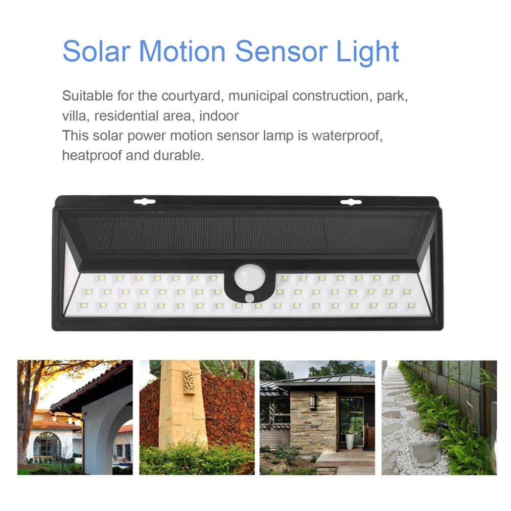 54LED solar sensor auto lamp waterproof PIR Body motion induction motion adjustable wall garden light for outdoor landscape in LED Night Lights from Lights Lighting